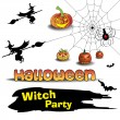 Stock Vector: Halloween witch party