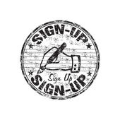 Sign up grunge rubber stamp — Stock Vector
