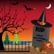 Stock Vector: Halloween tombstone