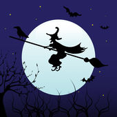 Witch flying on a broom — ストックベクタ