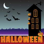 Halloween creepy house — Stock Vector