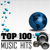 Top one hundred music hits — Stock Vector