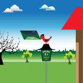 Uccello su una cassetta postale — Vettoriale Stock