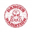 Danger radiation rubber stamp — Stock Vector