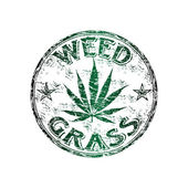 Weed grass grunge rubber stamp — Stock Vector