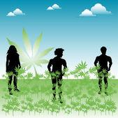 Champ de mauvaises herbes — Vecteur