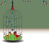 Liebe vögel in einem käfig — Stockvektor