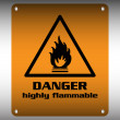 Danger highly flammable sign — Stock Vector