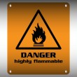 Stock Vector: Danger highly flammable sign