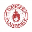 Danger flammable grunge rubber stamp — Stok Vektör