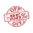 Twenty five percent off rubber stamp — Stock Vector