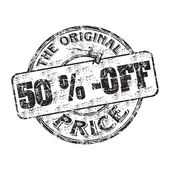 Fifty percent off the original price — Stock Vector