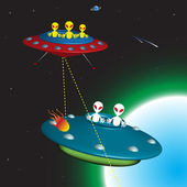 Aliens chasing aliens — Stock Vector