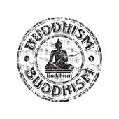Buddhism grunge rubber stamp — Stock Vector