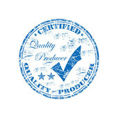 Certified quality producer grunge rubber stamp — Stock Vector