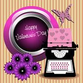 Valentine's Day typewriter machine — Stock Vector
