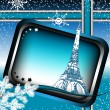 Paris winter frame — Stock Vector