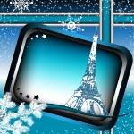 Paris winter frame — Stock Vector