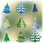 Set of nine Christmas trees — Stock Vector