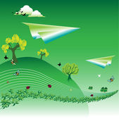 Paper planes flying over a meadow — Stock Vector
