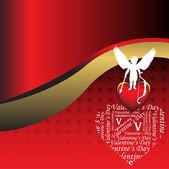 Cupido in piedi su un cuore — Vettoriale Stock