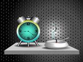 Alarm clock and ashtray on a shelf — Stock Vector