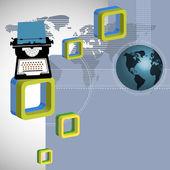 Resumen antecedentes con máquina de escribir y modernos cuadrados redondeados — Vector de stock