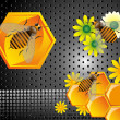 Stock Vector: Bees and honeycomb cells