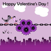 Love birds on a chain — 图库矢量图片