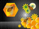 Bees and honeycomb cells — Stockvector