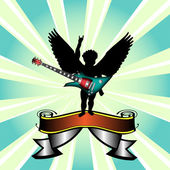 Cupid with electric guitar — Stockvektor