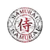 Samurai grunge rubber stamp — Stock Vector