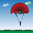 Stock Vector: Red parachute