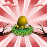 Nest with golden egg — Stock Vector