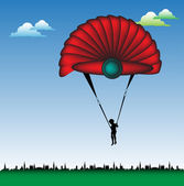 Red parachute — Stock Vector
