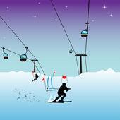 Pessoas de esqui — Vetorial Stock