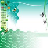 Le api e le celle a nido d'ape — Vettoriale Stock