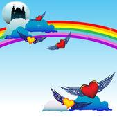 飞翔的心 — 图库矢量图片