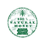 Natural honey grunge rubber stamp — Vector de stock
