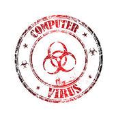 Computer virus grunge rubber stamp — Stock Vector
