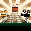 Clapboard and movie projectors — Stock Vector