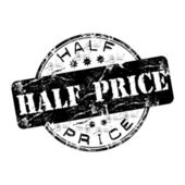 Half price grunge rubber stamp — Wektor stockowy