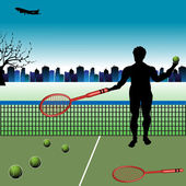 The tennis player — Stockvector