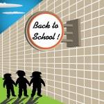 Back to school signpost — Stock Vector
