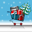 Shopping on winter holidays — Stock Vector
