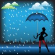 Woman with blue umbrella — Stock Vector