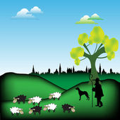 Shepherd and dog guarding the flock — Stock Vector