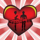 Tied heart — Stockvector