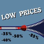 Low prices zipper — Stock Vector