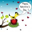 Stock Vector: Valentine greeting with cute bird in a nest